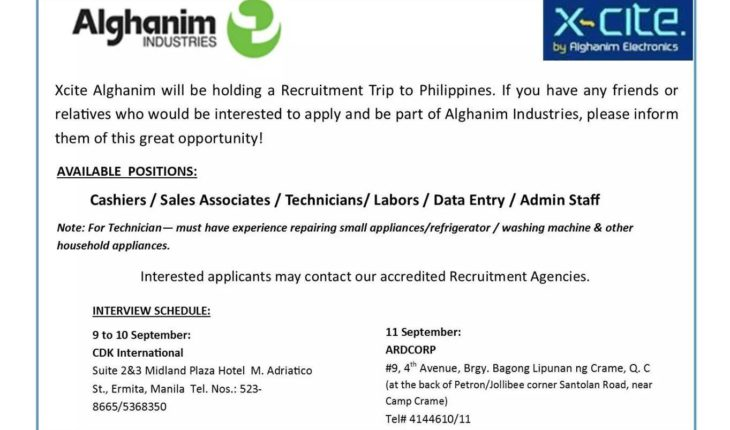 JOB HIRING ] XCITE ALGHANIM WILL BE HOLDING RECRUITMENT TRIP