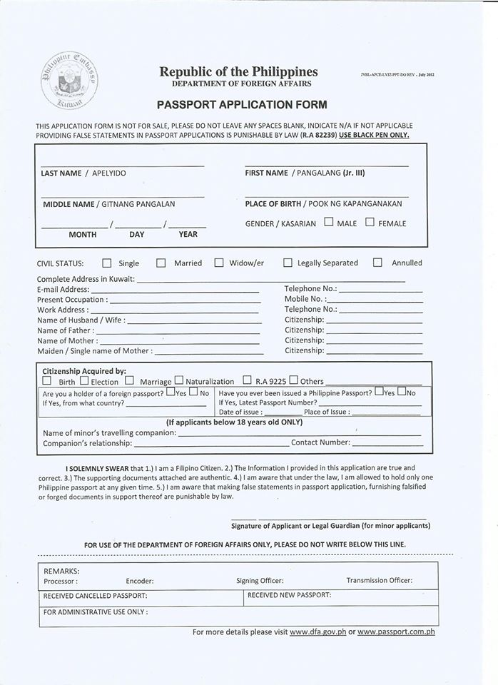 Requirements For Passport Renewal/Requirements For Replacement Of
