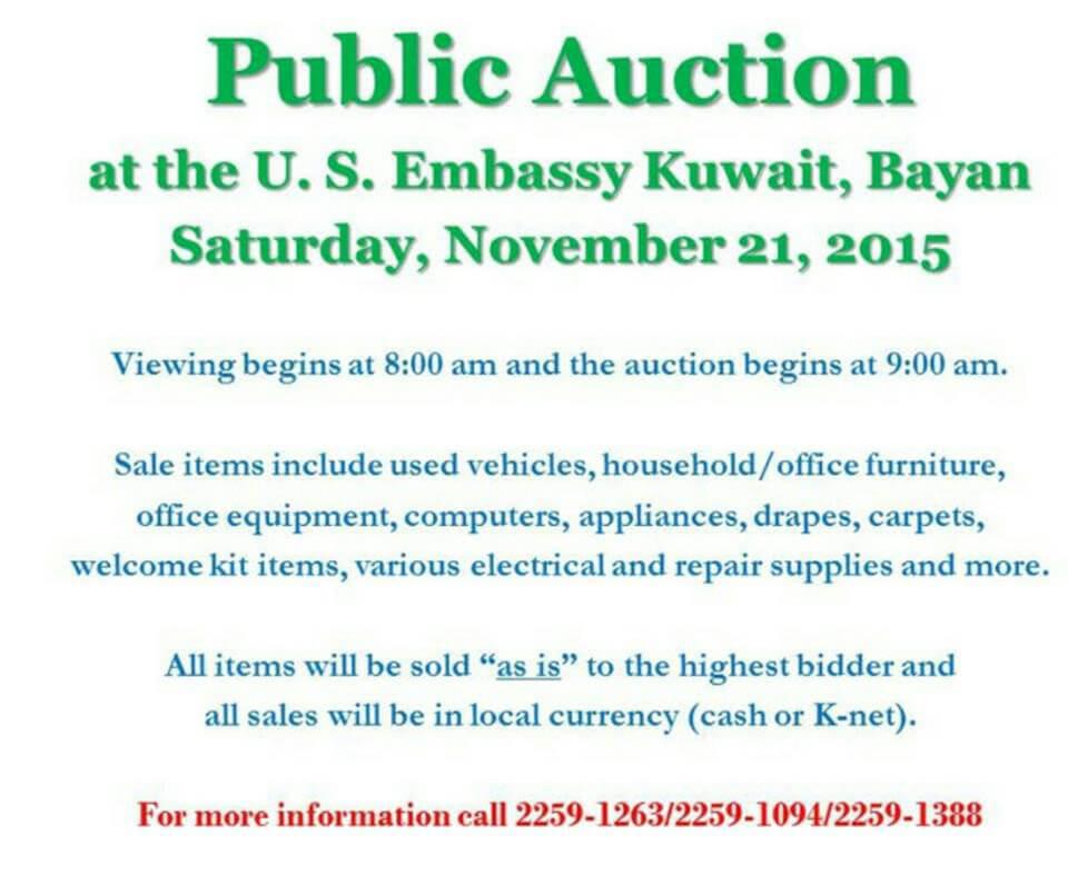Public Auction at U S Embassy Kuwait - Pilipino sa Kuwait