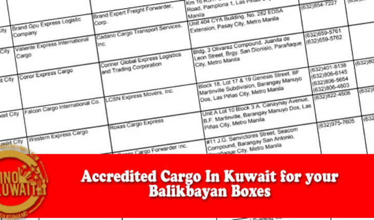 Kuwait : ACCREDITED SEA FREIGHT FORWARDERS FOR BALIKBAYAN